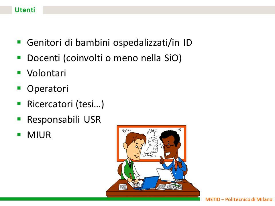 METID – Politecnico di Milano Utenti Genitori di bambini ospedalizzati/in ID Docenti (coinvolti o meno nella SiO) Volontari Operatori Ricercatori (tes