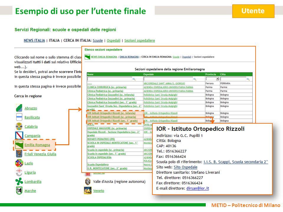 METID – Politecnico di Milano Esempio di uso per lutente finale Utente