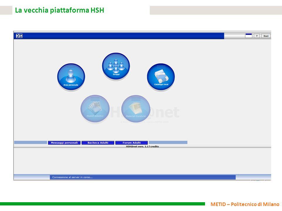METID – Politecnico di Milano La vecchia piattaforma HSH