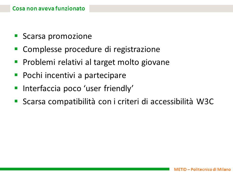 METID – Politecnico di Milano Cosa non aveva funzionato Scarsa promozione Complesse procedure di registrazione Problemi relativi al target molto giova