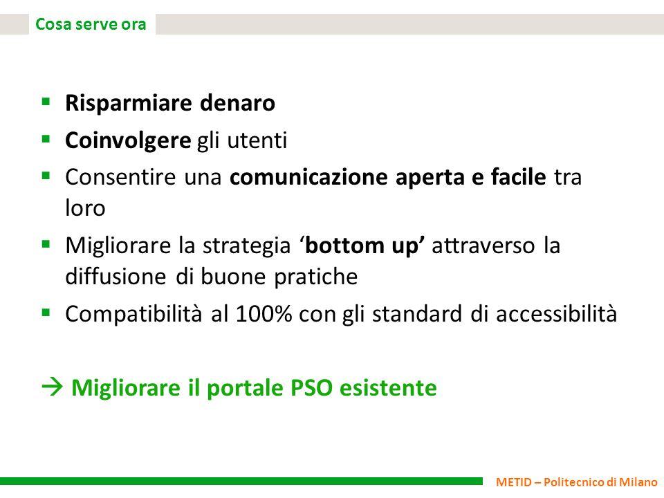 METID – Politecnico di Milano Cosa serve ora Risparmiare denaro Coinvolgere gli utenti Consentire una comunicazione aperta e facile tra loro Migliorar