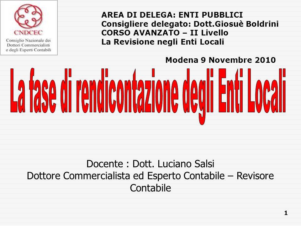 Docente : Dott. Luciano Salsi Dottore Commercialista ed Esperto Contabile – Revisore Contabile 1 AREA DI DELEGA: ENTI PUBBLICI Consigliere delegato: D