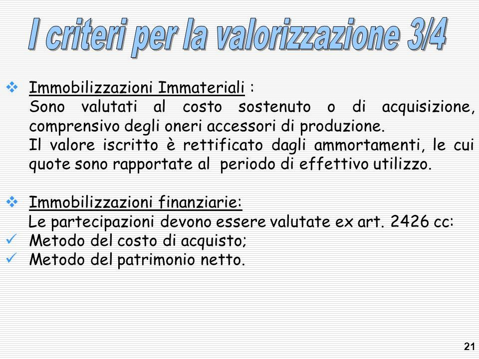 Immobilizzazioni Immateriali : Sono valutati al costo sostenuto o di acquisizione, comprensivo degli oneri accessori di produzione. Il valore iscritto