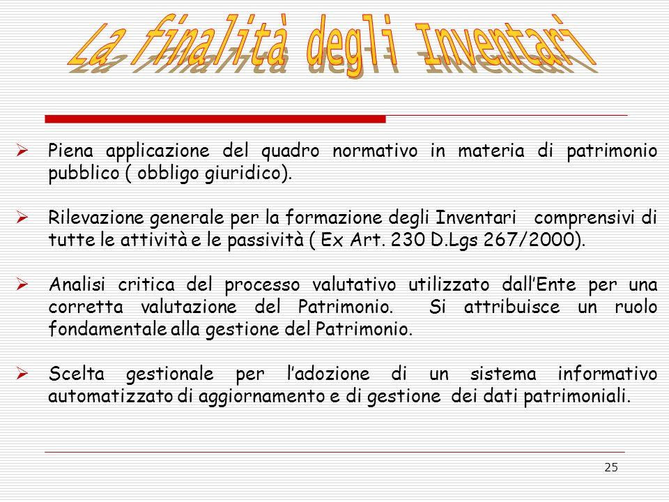 25 Piena applicazione del quadro normativo in materia di patrimonio pubblico ( obbligo giuridico). Rilevazione generale per la formazione degli Invent