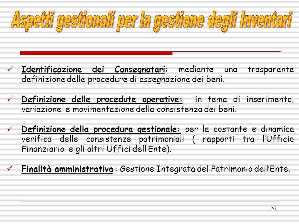 26 Identificazione dei Consegnatari: mediante una trasparente definizione delle procedure di assegnazione dei beni. Definizione delle procedute operat