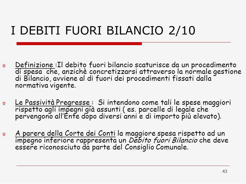 43 o Definizione :Il debito fuori bilancio scaturisce da un procedimento di spesa che, anzichè concretizzarsi attraverso la normale gestione di Bilanc