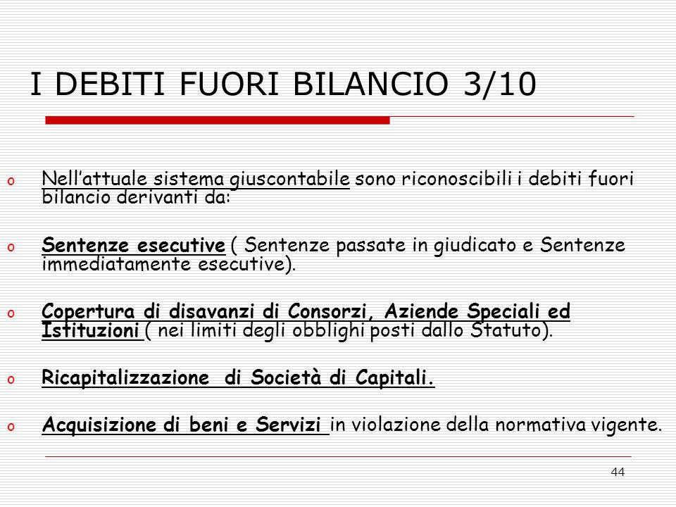 44 o Nellattuale sistema giuscontabile sono riconoscibili i debiti fuori bilancio derivanti da: o Sentenze esecutive ( Sentenze passate in giudicato e