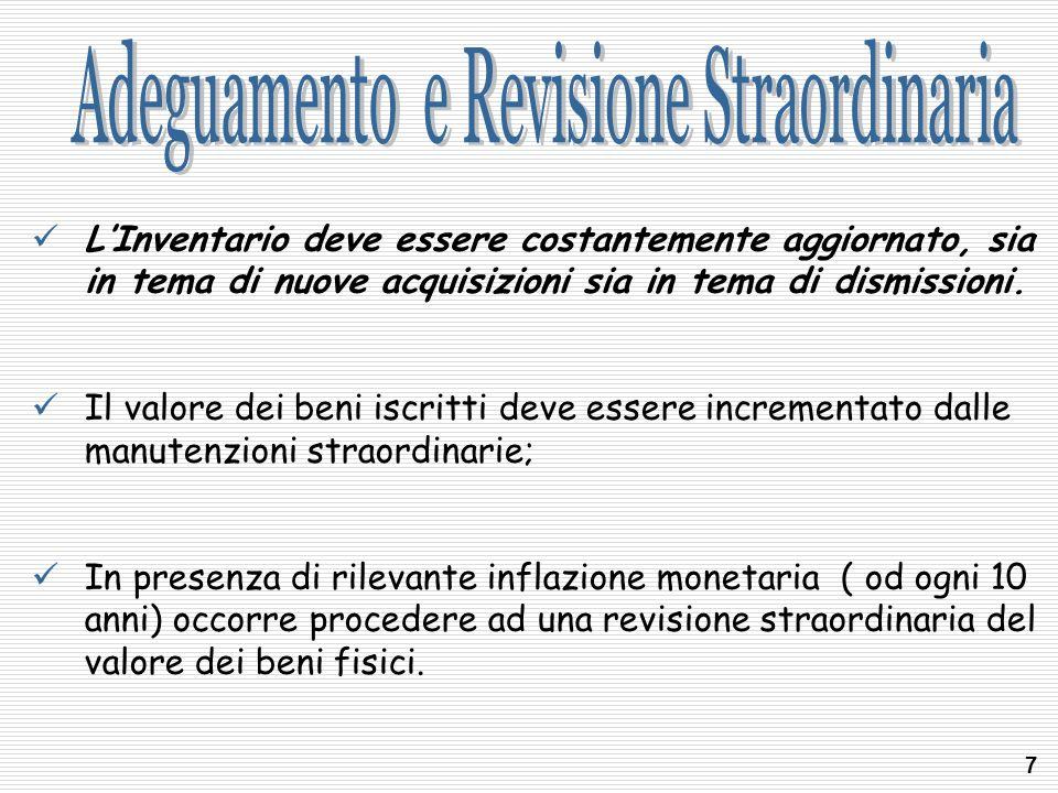 18 A) Individuazione; B) Classificazione; C) Inventariazione; D) Descrizione; E) Valutazione; F) Riepilogativa; G) Controllo; H) Revisione.