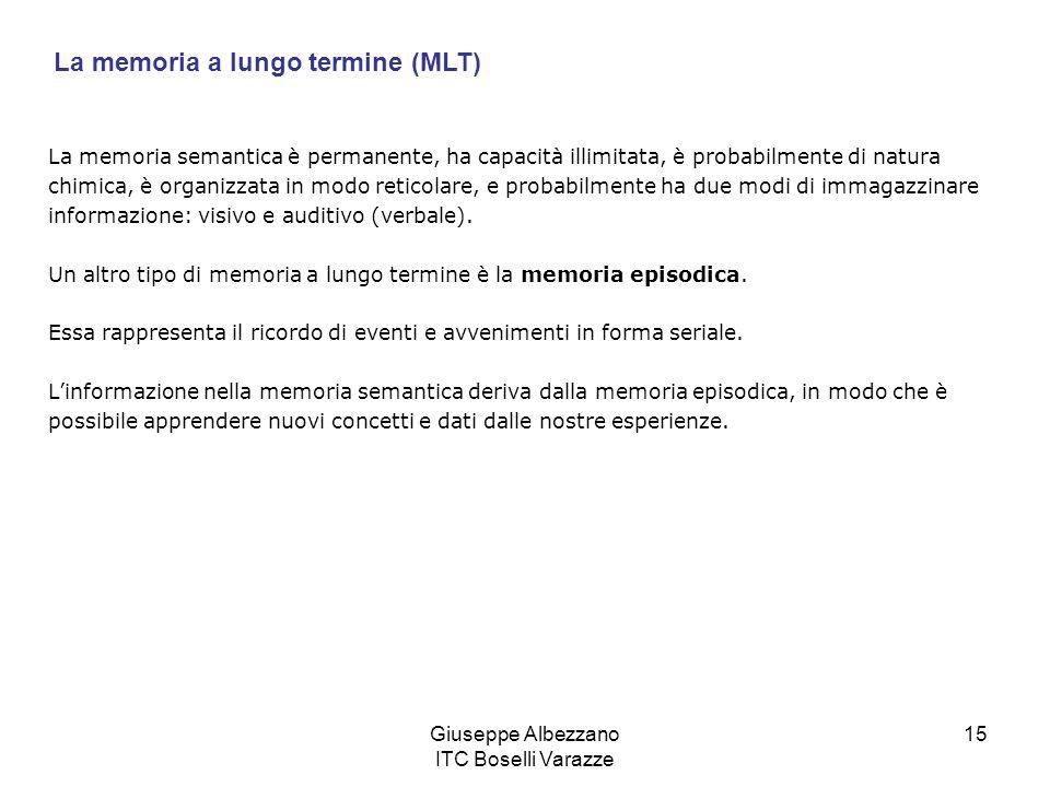 Giuseppe Albezzano ITC Boselli Varazze 15 La memoria semantica è permanente, ha capacità illimitata, è probabilmente di natura chimica, è organizzata