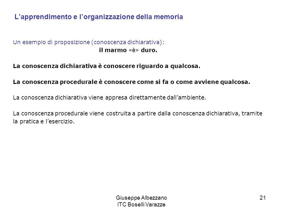Giuseppe Albezzano ITC Boselli Varazze 21 Un esempio di proposizione (conoscenza dichiarativa): il marmo «è» duro. La conoscenza dichiarativa è conosc