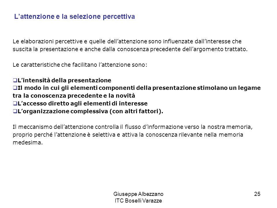 Giuseppe Albezzano ITC Boselli Varazze 25 Le elaborazioni percettive e quelle dellattenzione sono influenzate dallinteresse che suscita la presentazio
