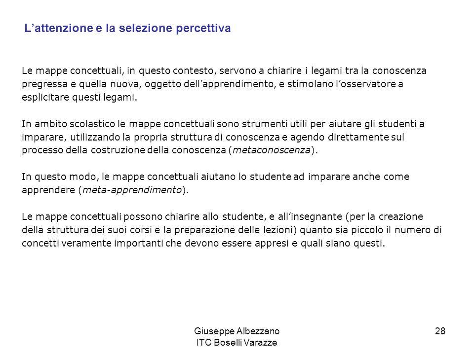 Giuseppe Albezzano ITC Boselli Varazze 28 Le mappe concettuali, in questo contesto, servono a chiarire i legami tra la conoscenza pregressa e quella n