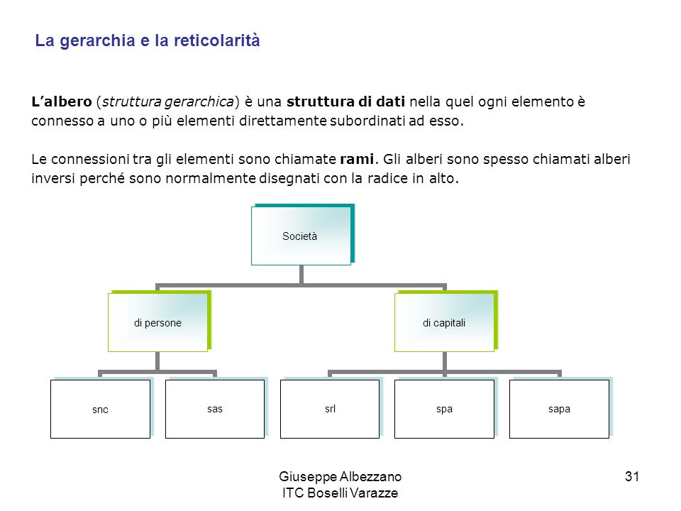 Giuseppe Albezzano ITC Boselli Varazze 31 Lalbero (struttura gerarchica) è una struttura di dati nella quel ogni elemento è connesso a uno o più eleme