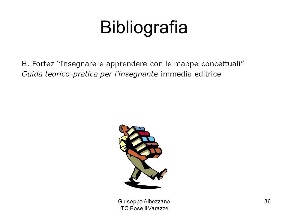 Giuseppe Albezzano ITC Boselli Varazze 36 Bibliografia H. Fortez Insegnare e apprendere con le mappe concettuali Guida teorico-pratica per linsegnante