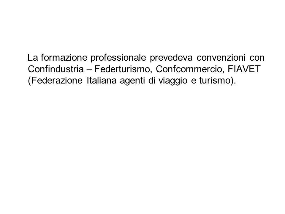 La formazione professionale prevedeva convenzioni con Confindustria – Federturismo, Confcommercio, FIAVET (Federazione Italiana agenti di viaggio e tu