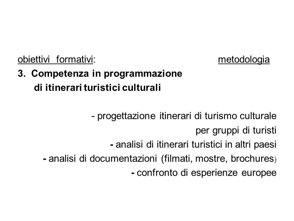 obiettivi formativi: metodologia 3. Competenza in programmazione di itinerari turistici culturali - progettazione itinerari di turismo culturale per g
