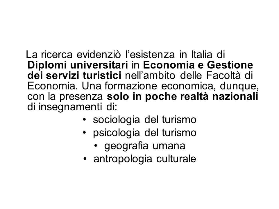 La ricerca evidenziò lesistenza in Italia di Diplomi universitari in Economia e Gestione dei servizi turistici nellambito delle Facoltà di Economia. U