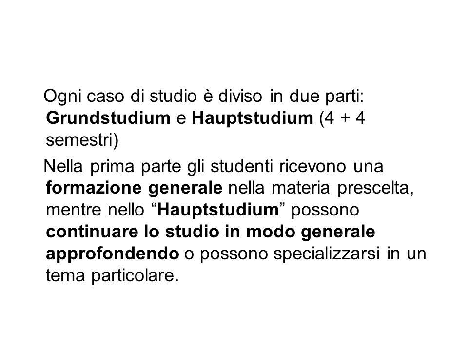 Ogni caso di studio è diviso in due parti: Grundstudium e Hauptstudium (4 + 4 semestri) Nella prima parte gli studenti ricevono una formazione general