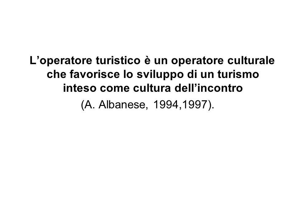 Loperatore turistico è un operatore culturale che favorisce lo sviluppo di un turismo inteso come cultura dellincontro (A. Albanese, 1994,1997).