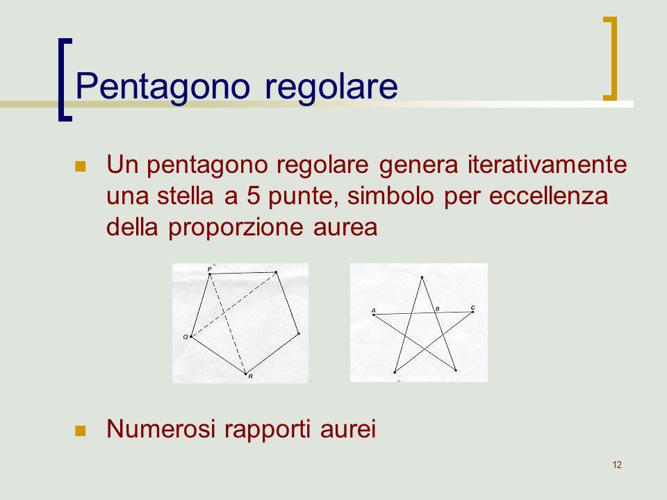 12 Un pentagono regolare genera iterativamente una stella a 5 punte, simbolo per eccellenza della proporzione aurea Numerosi rapporti aurei Pentagono