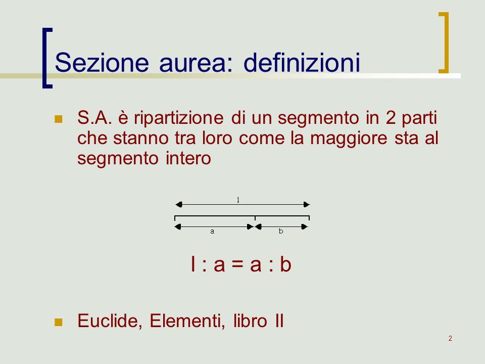 3 Ponendo l = 1, a = x Sezione aurea: definizioni 1 : x = x : (1 – x) x 2 + x – 1 = 0 x = ( 5 – 1) / 2 x = 0,6180339… (numero doro, coeff.