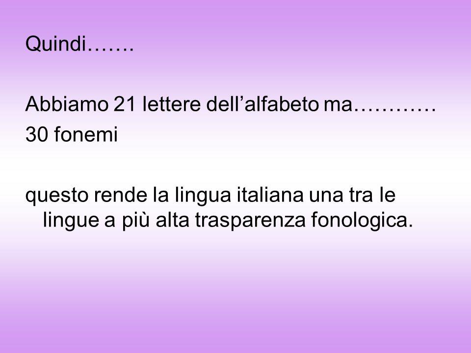 Quindi……. Abbiamo 21 lettere dellalfabeto ma………… 30 fonemi questo rende la lingua italiana una tra le lingue a più alta trasparenza fonologica.