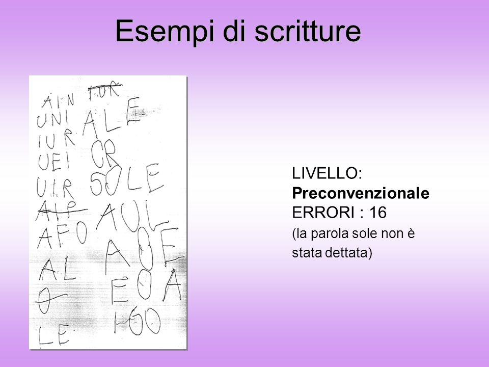Esempi di scritture LIVELLO: Preconvenzionale ERRORI : 16 (la parola sole non è stata dettata)