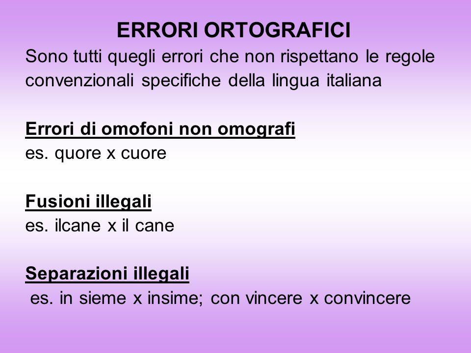 ERRORI ORTOGRAFICI Sono tutti quegli errori che non rispettano le regole convenzionali specifiche della lingua italiana Errori di omofoni non omografi