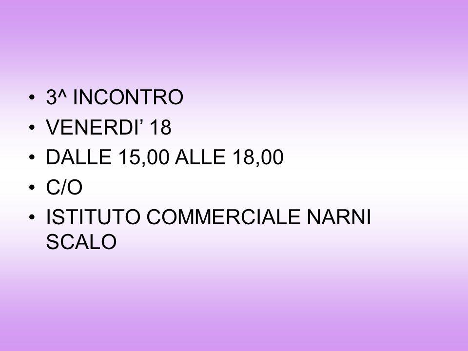 3^ INCONTRO VENERDI 18 DALLE 15,00 ALLE 18,00 C/O ISTITUTO COMMERCIALE NARNI SCALO