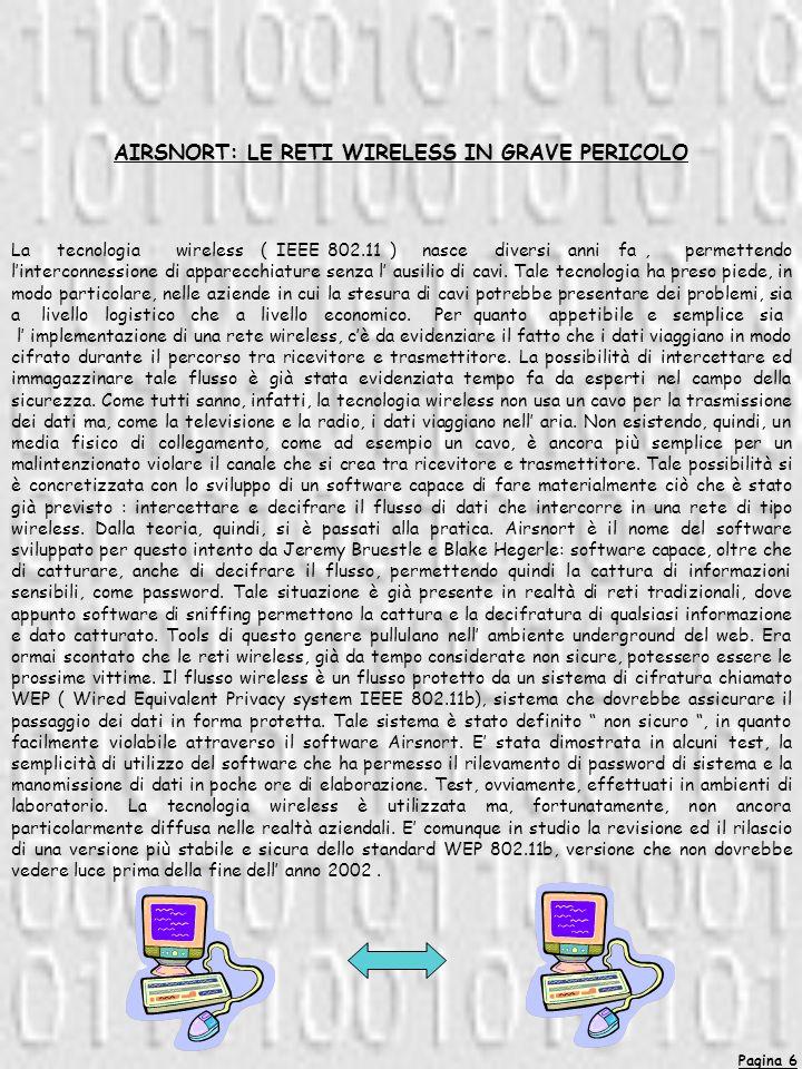 AIRSNORT: LE RETI WIRELESS IN GRAVE PERICOLO La tecnologia wireless ( IEEE 802.11 ) nasce diversi anni fa, permettendo linterconnessione di apparecchi