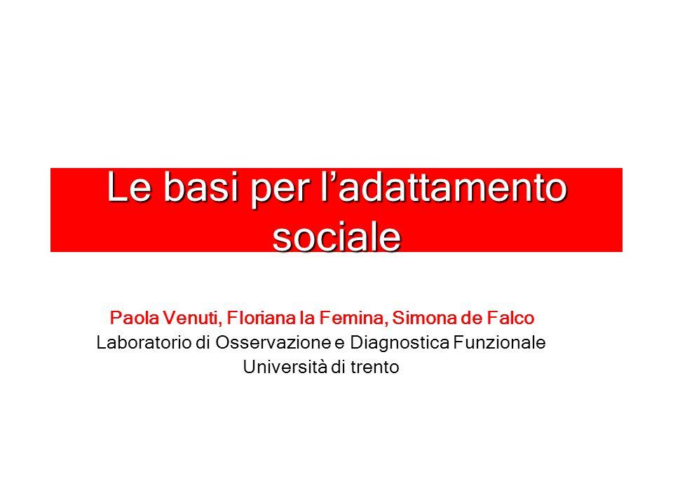 Le basi per ladattamento sociale Paola Venuti, Floriana la Femina, Simona de Falco Laboratorio di Osservazione e Diagnostica Funzionale Università di