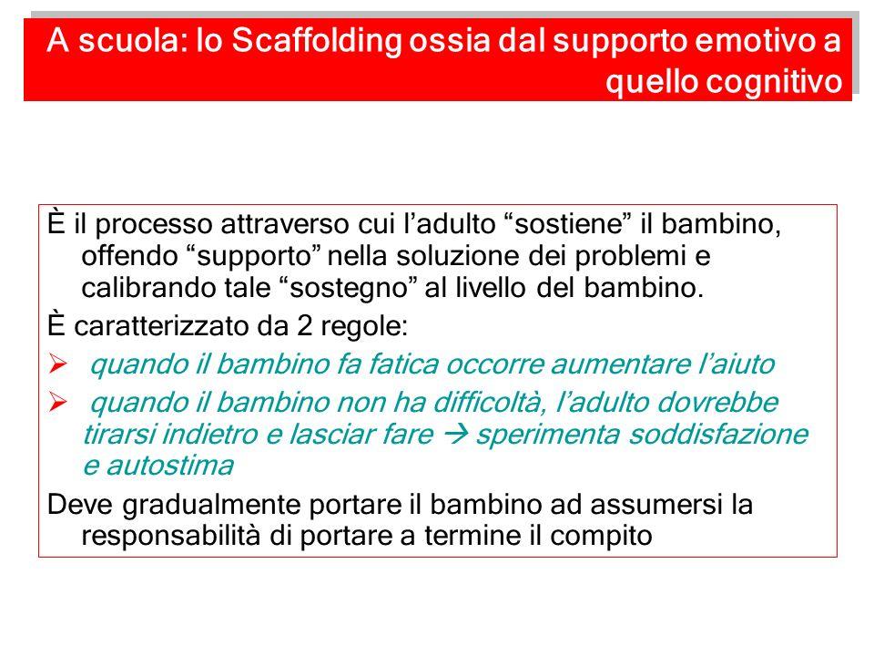 A scuola: lo Scaffolding ossia dal supporto emotivo a quello cognitivo È il processo attraverso cui ladulto sostiene il bambino, offendo supporto nell