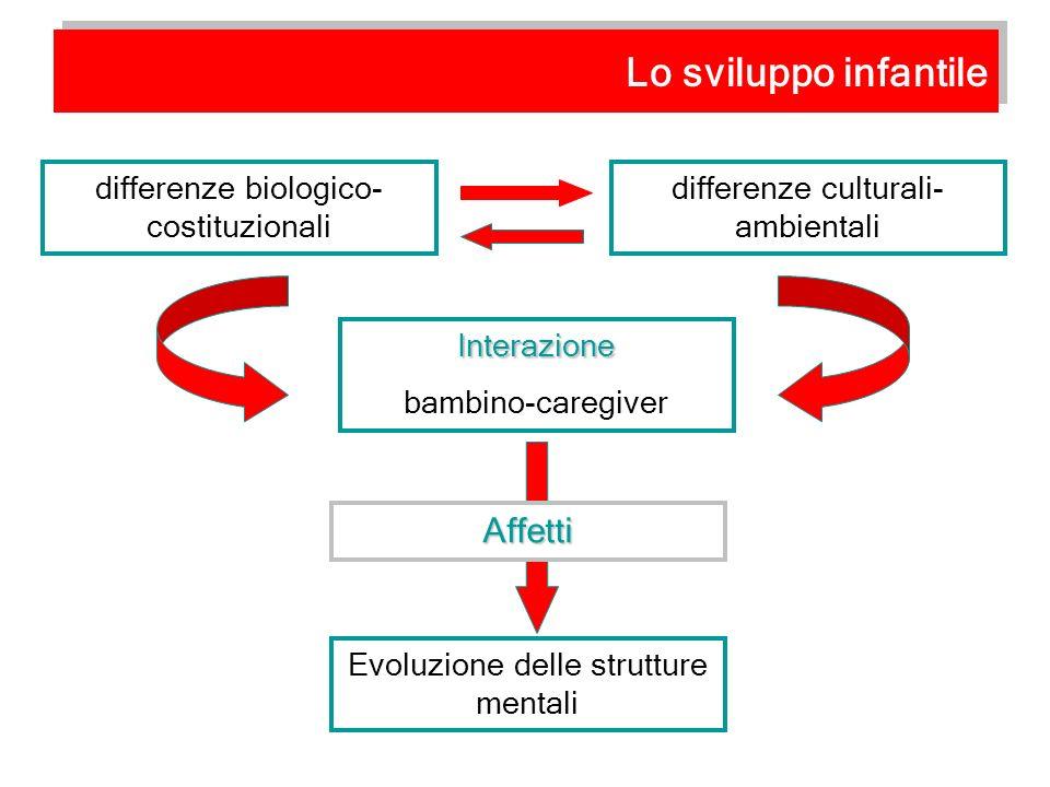 differenze biologico- costituzionali Interazione bambino-caregiver differenze culturali- ambientali Evoluzione delle strutture mentali Affetti Lo svil