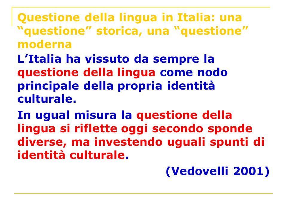 Questione della lingua in Italia: una questione storica, una questione moderna LItalia ha vissuto da sempre la questione della lingua come nodo princi