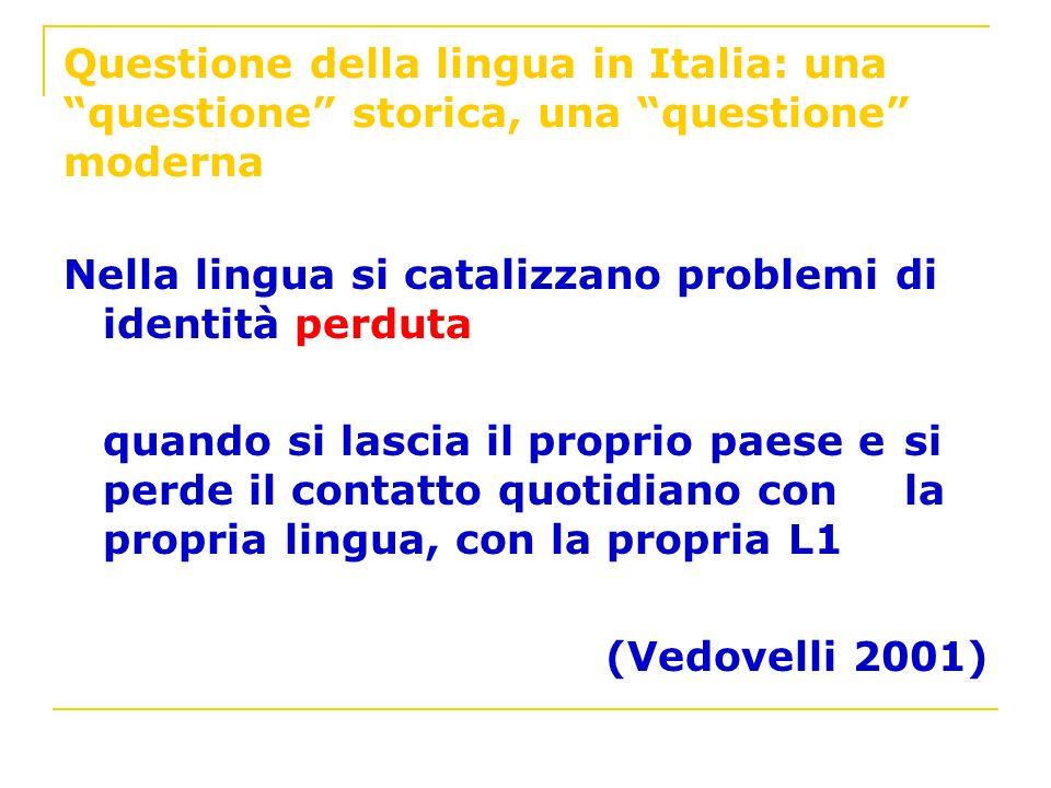 Questione della lingua in Italia: una questione storica, una questione moderna Nella lingua si catalizzano problemi di identità perduta quando si lasc