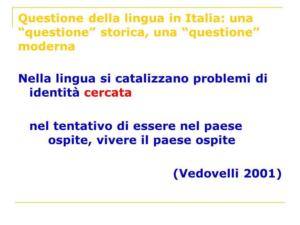 Questione della lingua in Italia: una questione storica, una questione moderna Nella lingua si catalizzano problemi di identità cercata nel tentativo
