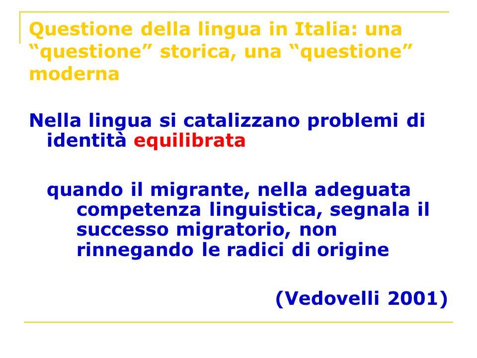Questione della lingua in Italia: una questione storica, una questione moderna Nella lingua si catalizzano problemi di identità equilibrata quando il