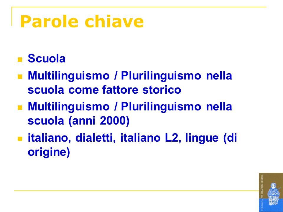 Parole chiave Scuola Multilinguismo / Plurilinguismo nella scuola come fattore storico Multilinguismo / Plurilinguismo nella scuola (anni 2000) italia