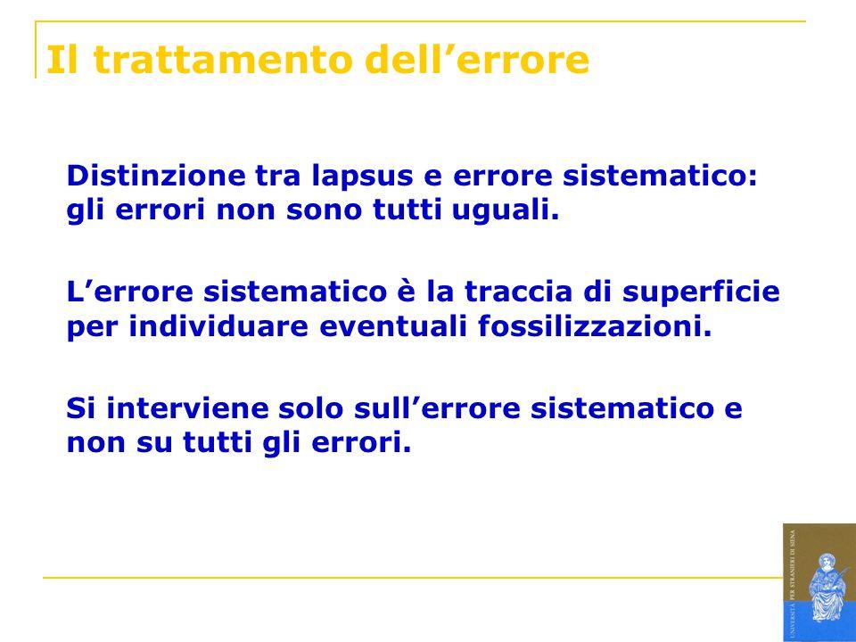Il trattamento dellerrore Distinzione tra lapsus e errore sistematico: gli errori non sono tutti uguali. Lerrore sistematico è la traccia di superfici