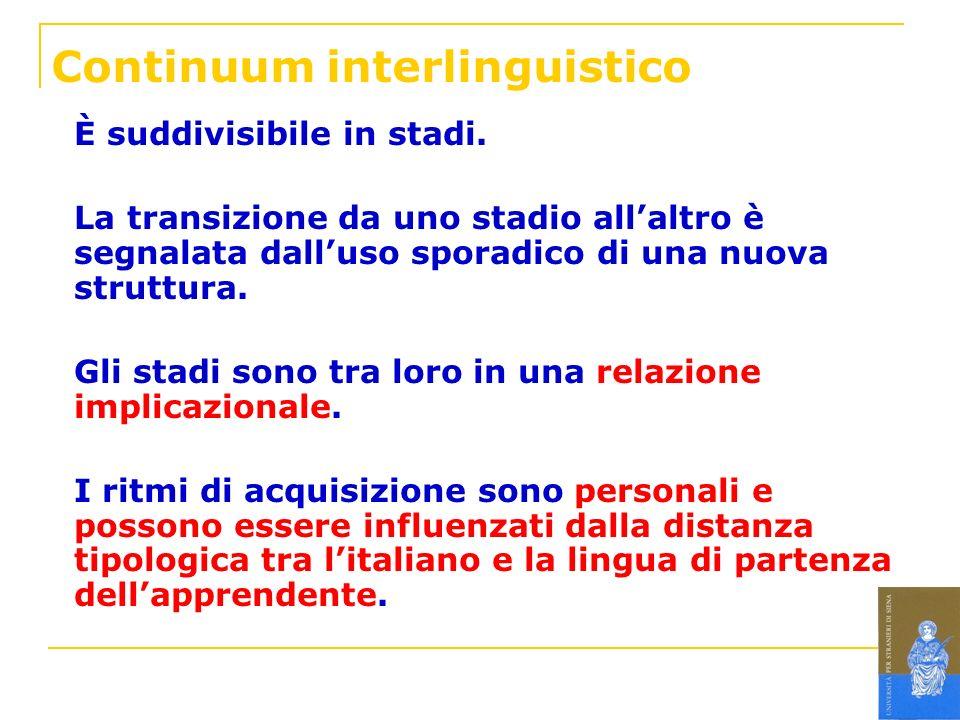 Continuum interlinguistico È suddivisibile in stadi. La transizione da uno stadio allaltro è segnalata dalluso sporadico di una nuova struttura. Gli s