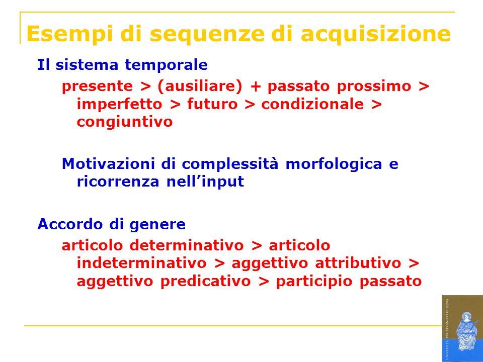 Esempi di sequenze di acquisizione Il sistema temporale presente > (ausiliare) + passato prossimo > imperfetto > futuro > condizionale > congiuntivo M