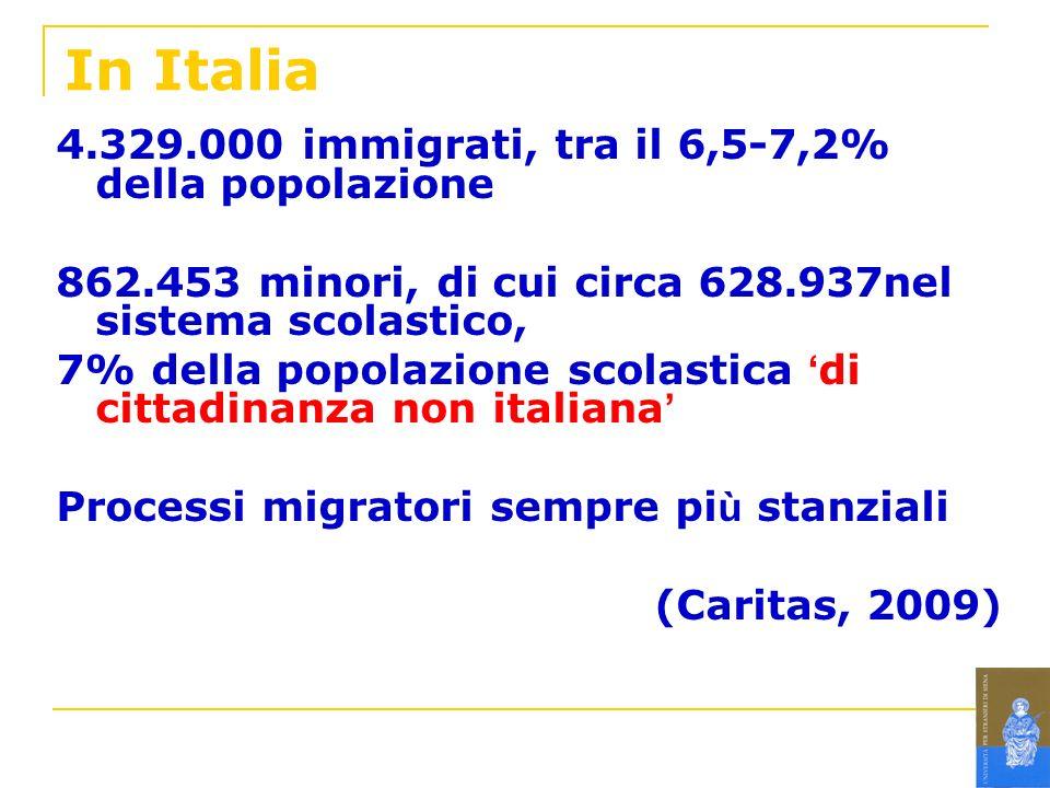 In Italia 4.329.000 immigrati, tra il 6,5-7,2% della popolazione 862.453 minori, di cui circa 628.937nel sistema scolastico, 7% della popolazione scol