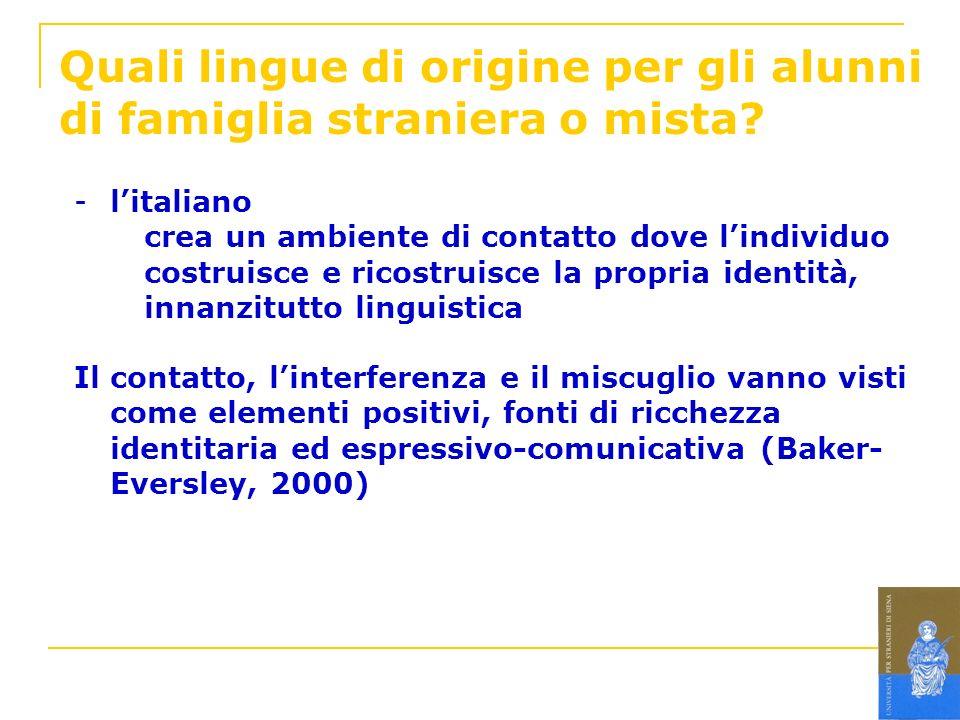 Quali lingue di origine per gli alunni di famiglia straniera o mista? -litaliano crea un ambiente di contatto dove lindividuo costruisce e ricostruisc