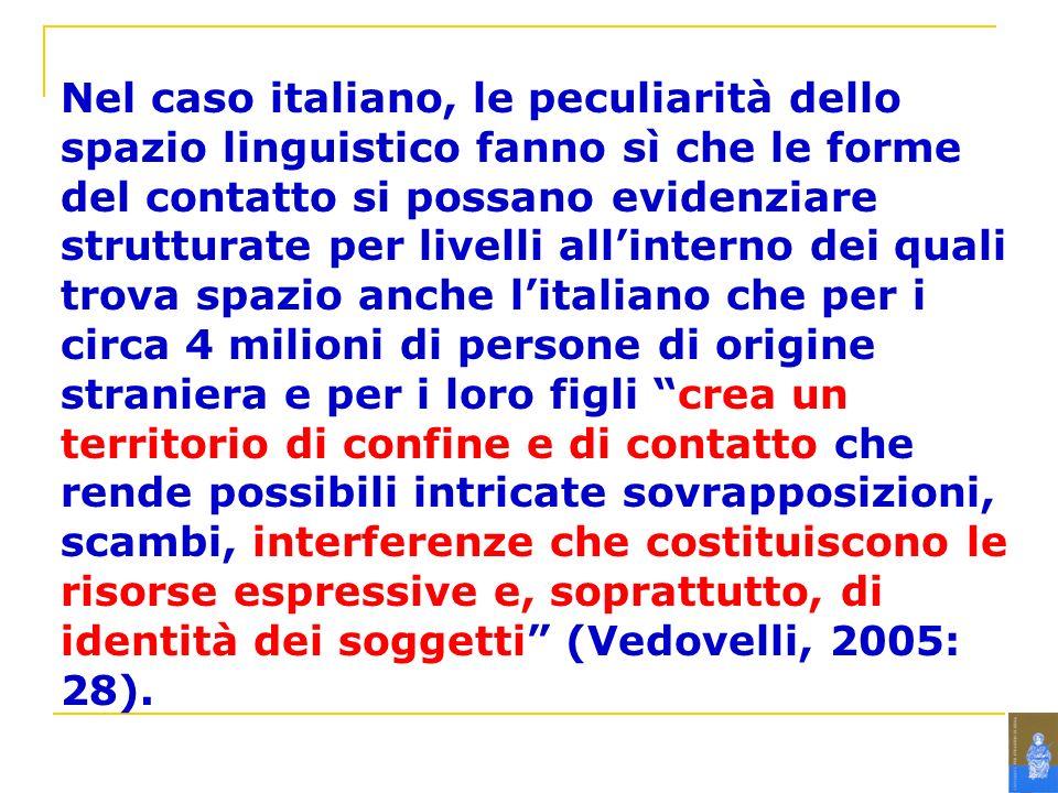 Nel caso italiano, le peculiarità dello spazio linguistico fanno sì che le forme del contatto si possano evidenziare strutturate per livelli allintern