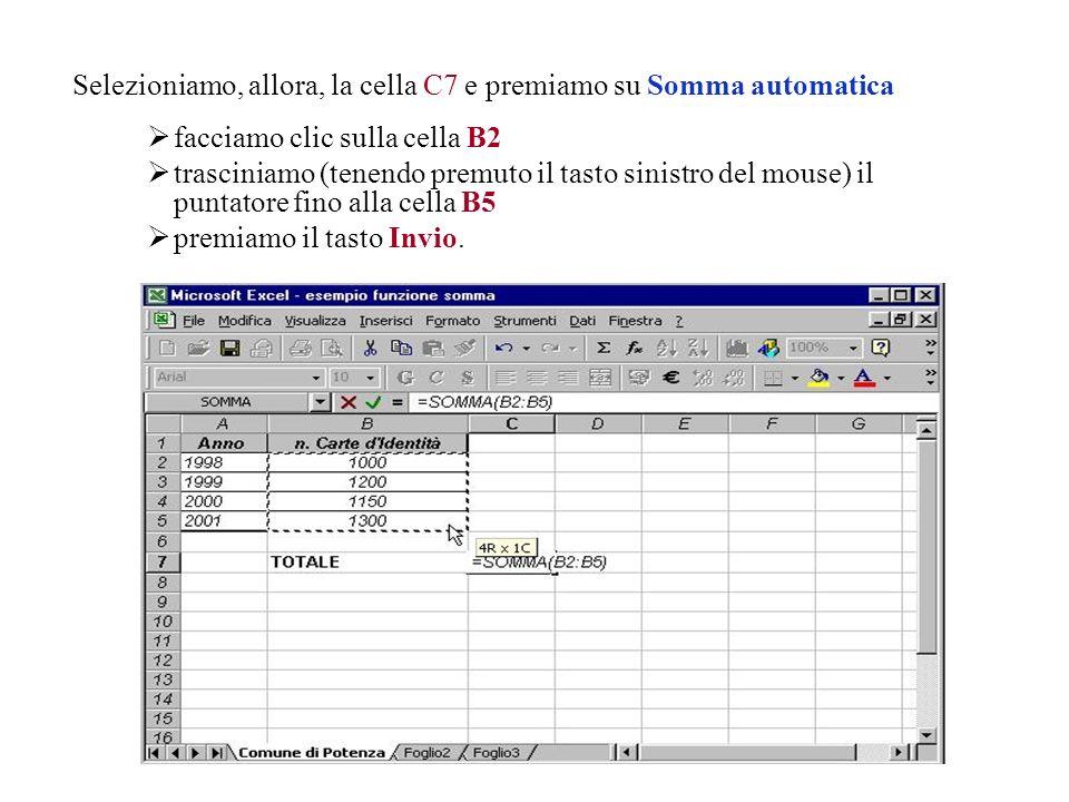 La funzione Somma si può inserire direttamente con il pulsante Somma automatica della Barra degli strumenti standard. Supponiamo, ad esempio, di voler