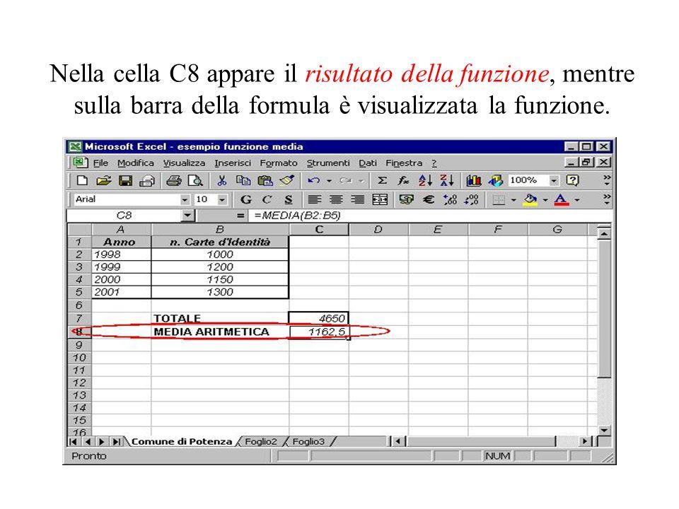 Per inserirvi gli indirizzi delle celle sulle quali calcolare il valore della media, bisogna: - fare clic sul pulsante in corrispondenza della casella