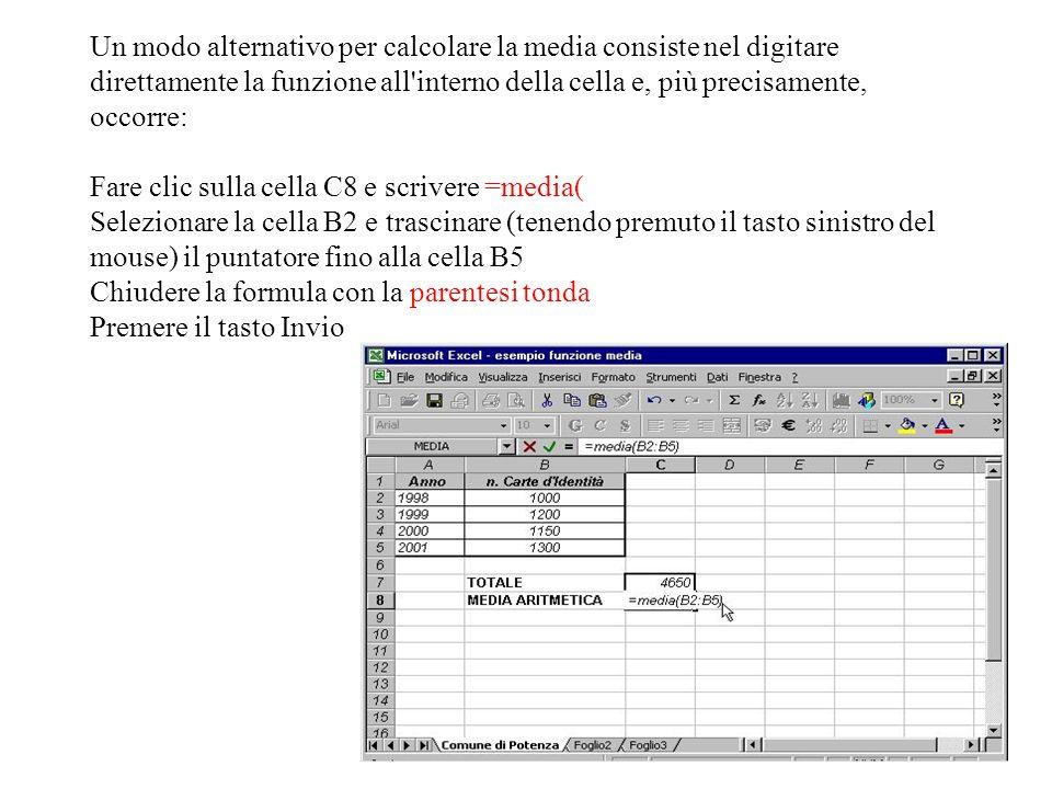 Nella cella C8 appare il risultato della funzione, mentre sulla barra della formula è visualizzata la funzione.