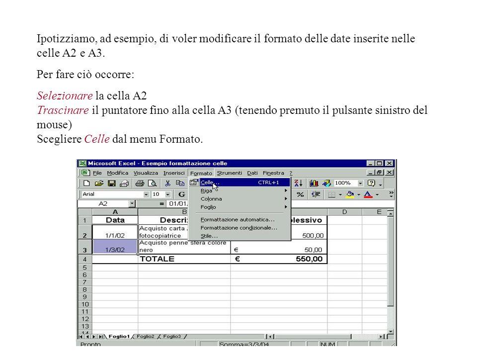 In questo modo, Excel ha modificato le celle selezionate trasformandole in un formato in cui inserire specificatamente valori in euro. Un modo alterna