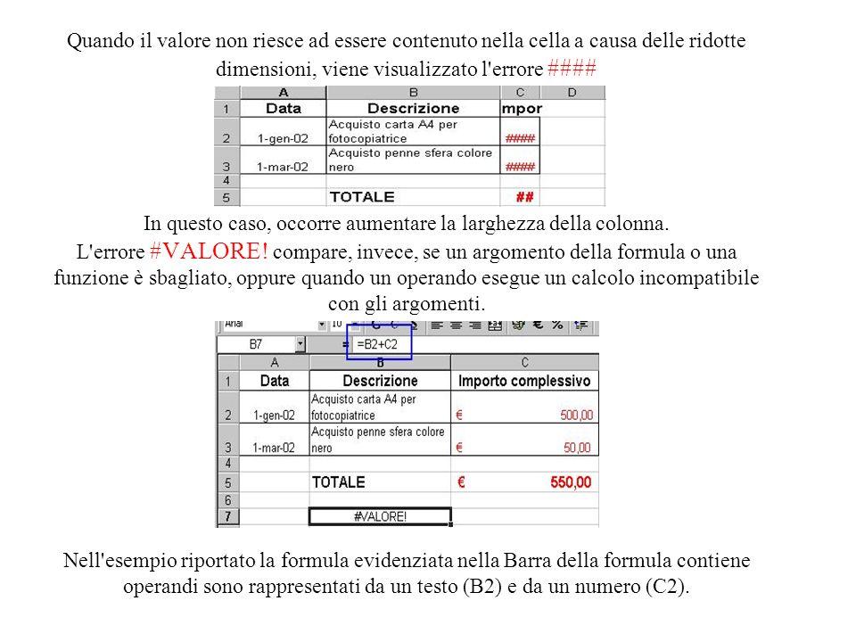 E' possibile che, durante la compilazione di un foglio Excel, si commettano degli errori. La presenza di un errore viene segnalata nella cella dal sim