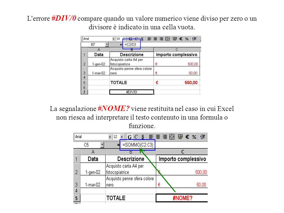 Quando il valore non riesce ad essere contenuto nella cella a causa delle ridotte dimensioni, viene visualizzato l'errore #### In questo caso, occorre